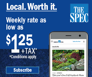 Weekly rate as low as $1.40 + tax. Subscribe to The Spec.